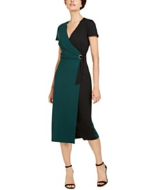 I.N.C. Colorblocked Faux-Wrap Dress, Created for Macy's