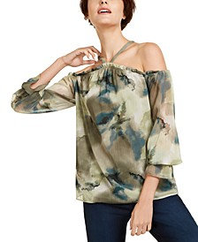 INC Printed Cold-Shoulder Blouse, Created for Macy's