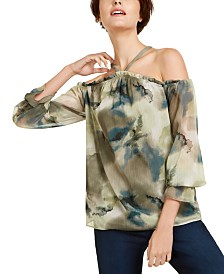 I.N.C. Printed Cold-Shoulder Blouse, Created for Macy's