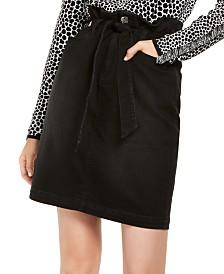 I.N.C. Paperbag-Waist Denim Skirt, Created for Macy's