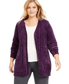 Karen Scott Plus Size Open-Front Chenille Cardigan, Created for Macy's