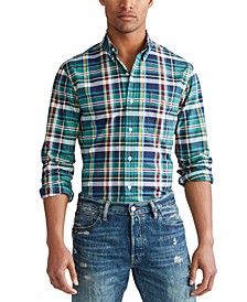 Men's Slim Fit Plaid Stretch Button-Down Shirt