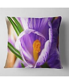 """Designart Blooming Crocus Flower Floral Throw Pillow - 26"""" x 26"""""""