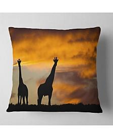 "Designart African Wildlife Silhouette African Throw Pillow - 26"" x 26"""