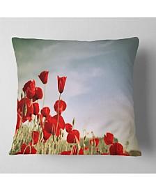 "Designart Flourishing Red Poppies Floral Throw Pillow - 26"" x 26"""