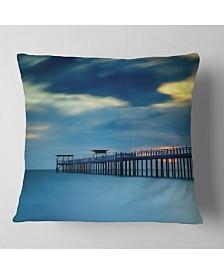 "Designart Wooden Pier and Turquoise Seashore Pier Seascape Throw Pillow - 18"" x 18"""