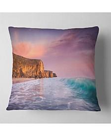 "Designart Beautiful Paradise Sunset Seascape Throw Pillow - 26"" x 26"""
