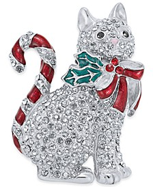 Silver-Tone Pavé Candy Cat Pin, Created for Macy's