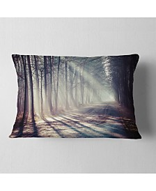 """Designart Morning Sunbeams to Forest Road Landscape Photography Throw Pillow - 12"""" x 20"""""""