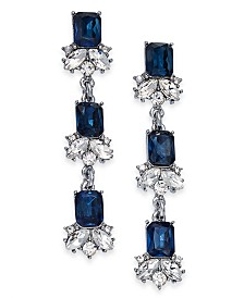 Charter Club Silver-Tone Crystal & Stone Linear Drop Earrings, Created For Macy's