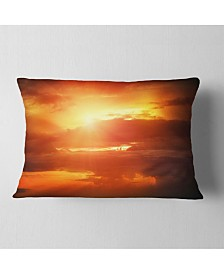 "Designart Yellow Sunset above Clouds Oversized Beach Throw Pillow - 12"" x 20"""