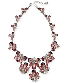 """Silver-Tone Crystal & Stone Statement Necklace, 17"""" + 2"""" extender, Created For Macy's"""