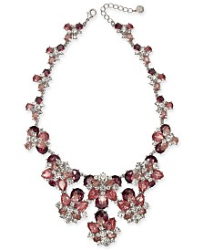 """Charter Club Silver-Tone Crystal & Stone Statement Necklace, 17"""" + 2"""" extender, Created For Macy's"""