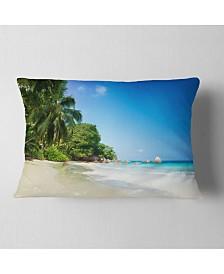 "Designart Beautiful Praslin Island Seychelles Seascape Throw Pillow - 12"" x 20"""