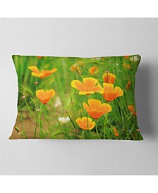 "Designart Bright Yellow Poppy Flowers Floral Throw Pillow - 12"" x 20"""