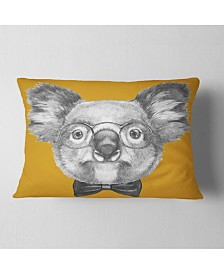 "Designart Koala with Glasses and Bow Tie Contemporary Animal Throw Pillow - 12"" x 20"""