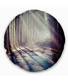 """Designart Strong Sunbeams in Thick Forest Landscape Photography Throw Pillow - 16"""" Round"""