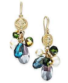 Gold-Tone Imitation Pearl, Flower Coin & Bead Shaky Drop Earrings, Created For Macy's