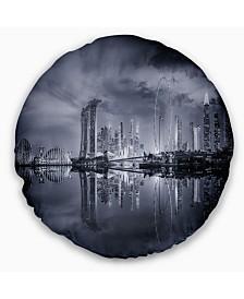 """Designart Black and White Singapore Skyline Cityscape Throw Pillow - 16"""" Round"""