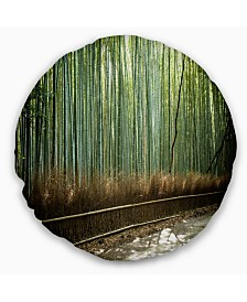 """Designart Beautiful View of Bamboo Forest Forest Throw Pillow - 16"""" Round"""