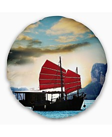 "Designart Large Chinese Sailing Ship Seashore Throw Pillow - 16"" Round"