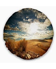"""Designart Prairie under Heavy Clouds Landscape Printed Throw Pillow - 16"""" Round"""