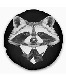 """Designart Funny Raccoon in Suit and Tie Animal Throw Pillow - 16"""" Round"""