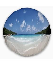 "Designart Blue Seychelles Island Panorama Seascape Throw Pillow - 20"" Round"