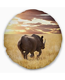 "Designart Giant Rhino under Bright Sky African Wall Throw Pillow - 20"" Round"