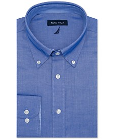 Nautica Men's Classic/Regular-Fit Comfort Stretch Wrinkle-Free Solid Dress Shirt