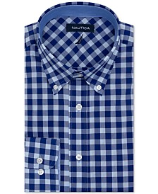 Nautica Men's Classic/Regular-Fit Comfort Stretch Wrinkle-Free Check Dress Shirt