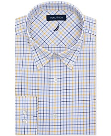 Men's Classic/Regular-Fit Comfort Stretch Wrinkle-Free Plaid Dress Shirt