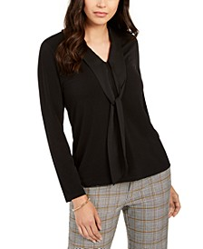 Petite Tie-Neck Crepe Top, Created For Macy's