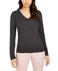 Charter Club Merino Wool Button-Cuff V-Neck Sweater, Created for Macy's