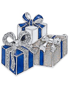 Silver-Tone, Blue & Glitter Pavé Gifts Pin, Created For Macy's