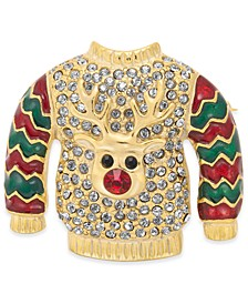 Gold-Tone Pavé Ugly Holiday Sweater Pin, Created For Macy's