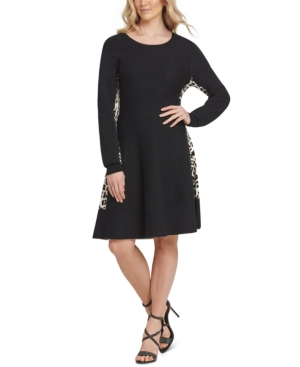 Dkny Dresses LEOPARD PRINT-TRIMMED SWEATER DRESS