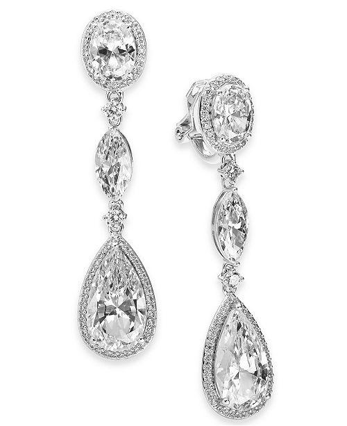 Eliot Danori Danori Cubic Zirconia Teardrop Clip-On Drop Earrings, Created For Macy's