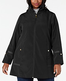 Plus Size Hooded Balmacaan Raincoat