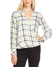 Plaid Faux-Wrap Blouse