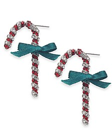 INC Silver-Tone Crystal Candy Cane Drop Earrings, Created For Macy's