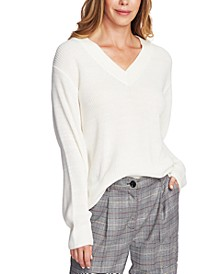 Ribbed-Knit V-Neck Sweater