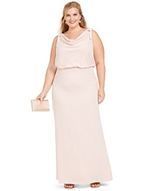 Plus Size Blouson Cowl-Neck Gown