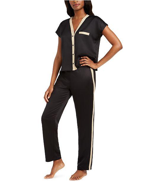 INC International Concepts I.N.C. Metallic-Trim Matte Satin Pajama Set, Created For Macy's