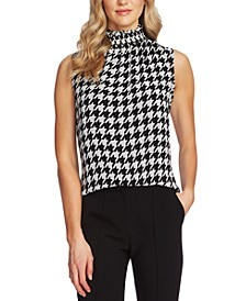 Houndstooth-Print Mock-Neck Sleeveless Top