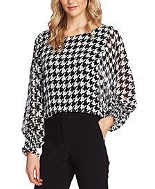 Houndstooth-Print Blouson-Top
