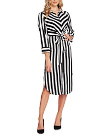 Striped Tie-Front Shirtdress