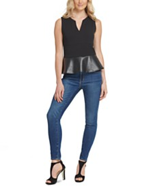 DKNY Faux-Leather Peplum Top
