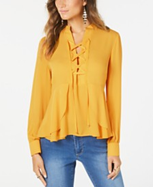 Thalia Sodi Peplum-Hem Lace-Up Blouse, Created for Macy's