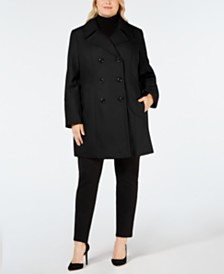 Anne Klein Plus Size Double-Breasted Peacoat, Created for Macy's